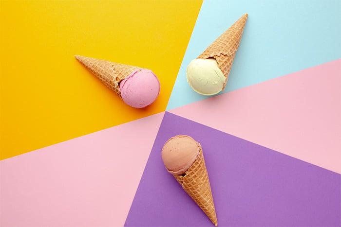 ice cream cones on a multicolor background