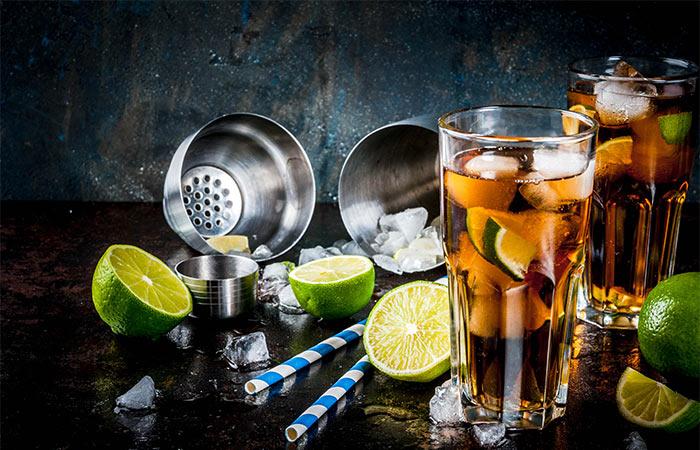long island iced tea, limes and straws