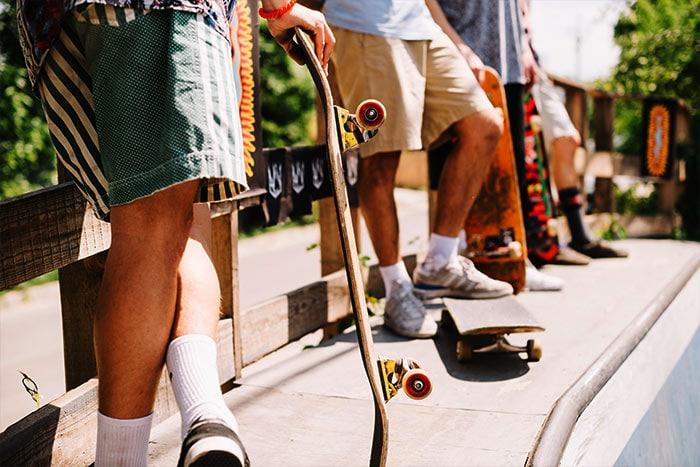 group of skateboarders